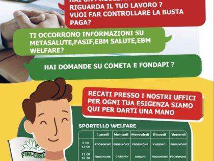 APERTO LO SPORTELLO WELFARE FIM FROSINONE